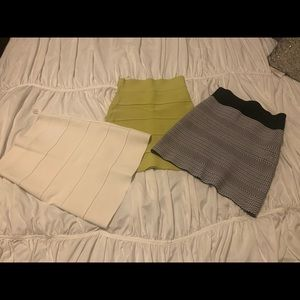 BCBG Bandage Skirts: Yellow, White and Black/White